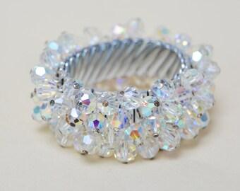 Vintage Beaded Crystal Expansion Bracelet . Silver Plate .