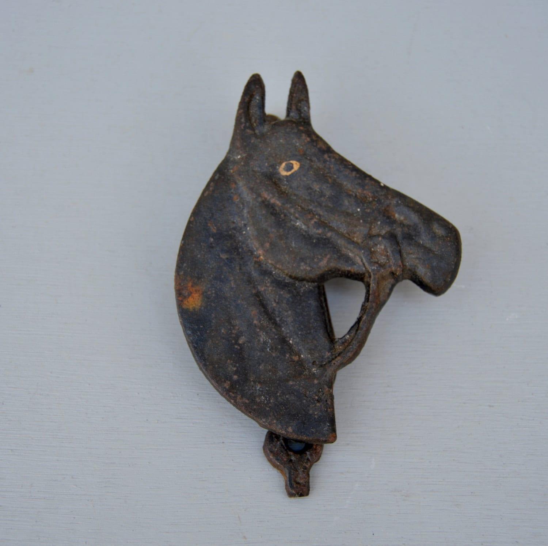 Old cast iron horse head door knocker rustic old metal - Horse door knocker ...