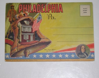 Vintage 1940's Used Picture Postcard Accordian Fold Philadelphia Pennsylvania