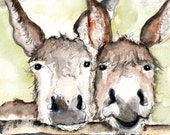 Two Donkeys Illustration Painting - Donkeys - Watercolor Art -6x4 Print set in 8x6 mount- donkey, farm, animal,modern,art, painting,country