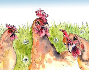 Chickens Print- Illustration Painting - Watercolor Art -6x4 Print set in 8x6 mount- chickens, farm, animal,art, painting,country, rooster