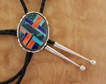 Navajo Silver Bolo Tie Inlaid Brian Brown