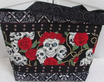 Skulls and Roses Large Tote Bag Tattoo Red and Black Purse Alternative Fashion Shoulder Bag Rocker Chic Tote Biker Diaper Bag