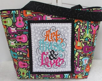 Artistic Music Lover Large Tote Bag Hearts and Guitars Large Purse Ready To Ship