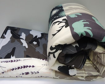 Boy Baby Quilt-Rustic-Modern-Woodland Baby Bedding-Buck-Antler-Elk-Bear Hike-Birch Fabric-Art Gallery-Charcoal-Black-Gray Camo Baby Blanket