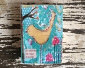 She believed she could so she did art print, aceo block reproduction by sunshine girl designs, 2.5 x 3.5, turquoise and yellow, nursery art