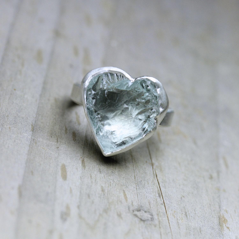 Rough Pale Blue Aquamarine Heart Ring Silver Primitive Boho