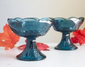 Blue Glass Candlesticks, Harvest Grape, Deep Blue Color, Indiana Glass, Summer or Fall Tabletop or Mantel Decor