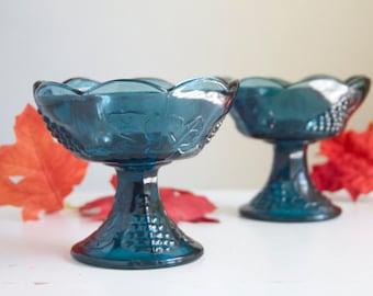 Blue Glass Candlesticks, Harvest Grape, Deep Blue Color, Indiana Glass, Fall Tabletop or Mantel Decor