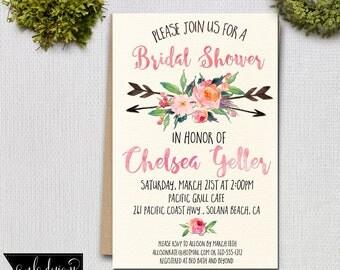 Bridal Shower Invitation, Printable Invite, Birthday Invitation, Baby Shower Invitation,  Invitations and Announcements, Custom Invite