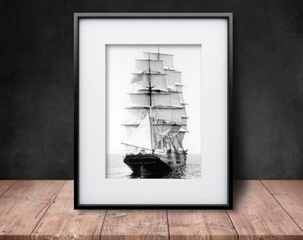 The Panay in the Boston Harbor - Black & White Reproduction of a Vintage Photograph
