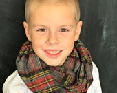Children's Flannel Scarf in Black and Red Multi