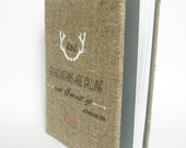 Wedding rustic  photo album burlap Linen Bridal shower anniversary white Deer antlers The mounthains are calling - and I must go