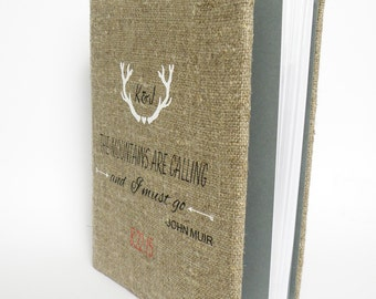 SALE ~ 15% Wedding rustic  photo album burlap Linen Bridal shower anniversary white Deer antlers The mounthains are calling - and I must go