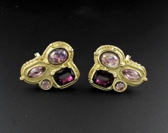 Dichroic Glass Earrings, Purple Earrings, Statement Earrings, Purple Glass Earrings, Gold Earrings, Large Earrings
