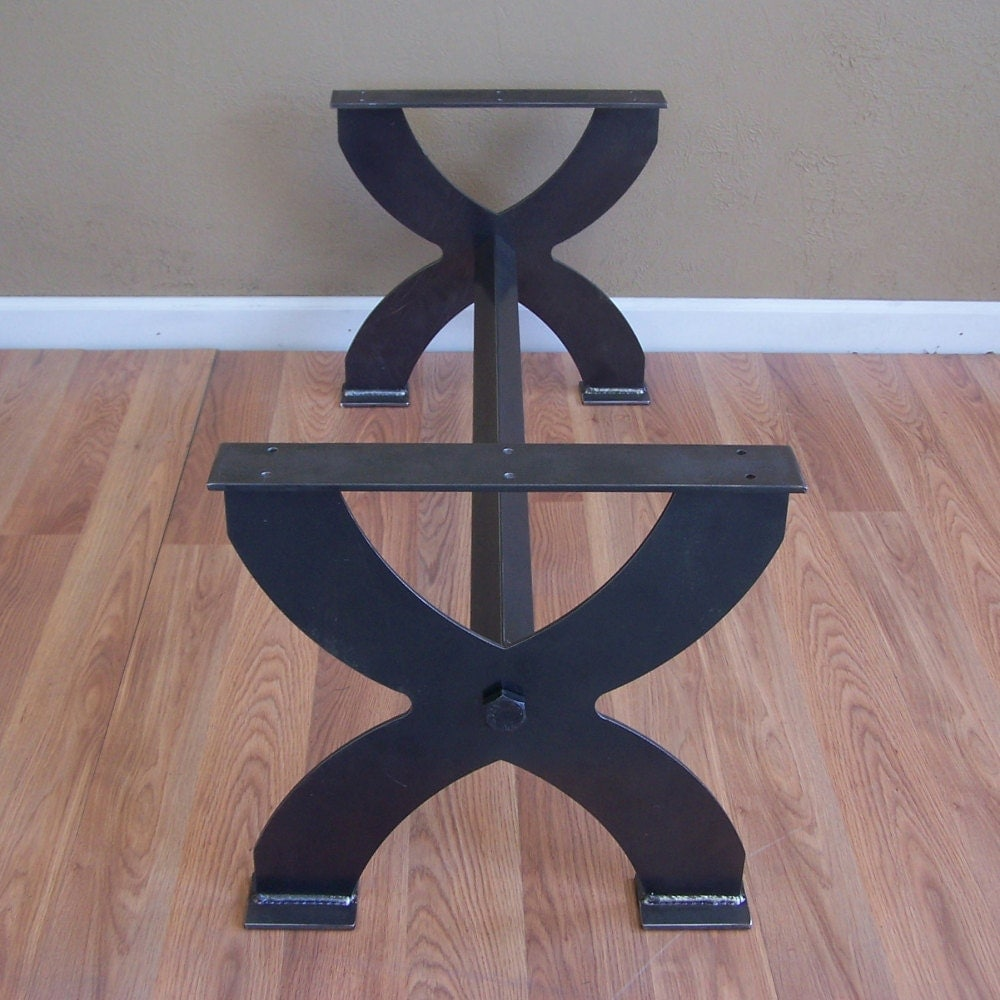 Metal Coffee Table Base Bench Legs X Style Heavy Steel Plate