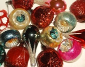 Small Vintage Glass Christmas Ornaments • variety • 16 count