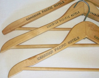 3 Old Wooden CANADIAN PACIFIC HOTELS Clothes Hangers