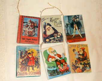 Vintage Miniature Christmas Santa Book Ornaments • 6 count