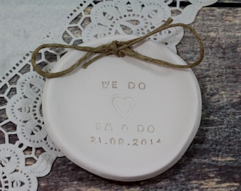 Ring bearer pillow alternative, Ring pillow alternative,  Wedding ring bearer We Do Ring dish Wedding ring plate