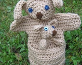 Crocheted Brown Mother Kangaroo and Baby Joey Hand Puppet