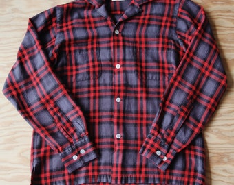 Vintage Mid Century Style WONDER WEAR Plaid CAMP Flannel Shirt | Free Shipping in the U.S.A.