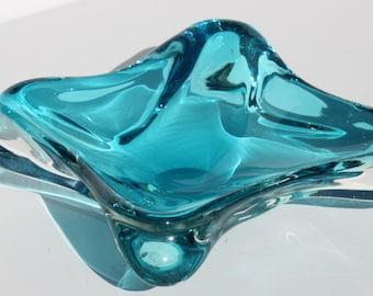 Vintage Mid Century Modern Murano Italian Art Glass Free Form Sommerso Blue Bowl