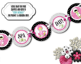 Spa Beauty Party Banner, Party Bunting, Girls Night Out, Birthday, Bridal Shower, Bachelorette Party, Hot Pink, Black