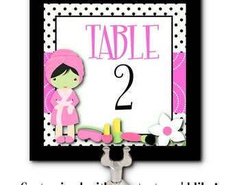 Table Numbers, Table Signage, Food Label Cards, Spa Beauty Party, Bridal Shower, Bachelorette Party, Birthday, Girls Night Out, Hot Pink