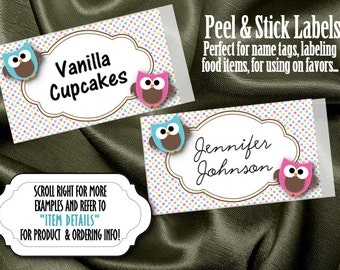 10 Labels, Stickers, Name Tags, Candy and Food Buffet Labels, Favor Labels, Baby Shower, Birthday Party, Baby Owls, Pink & Blue