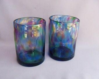 Hand  Blown Art Glass Tumblers - Blue Multicolored