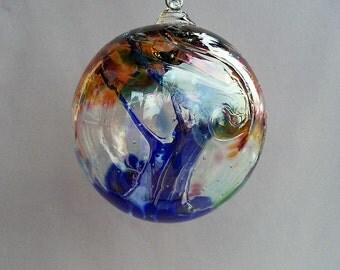 Hand Blown Art Glass Witch Ball/Ornament/Suncatcher - 5 Inch Diameter