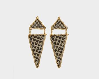 Triangle Dangle Leather Earring in Coffee | R15-E17 CFE