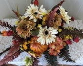 Fall Floral Centerpiece With Pumpkin Autumn Basket Floral Table Top Orange Cream Brown Yellow Floral Fall Floral With Ferns