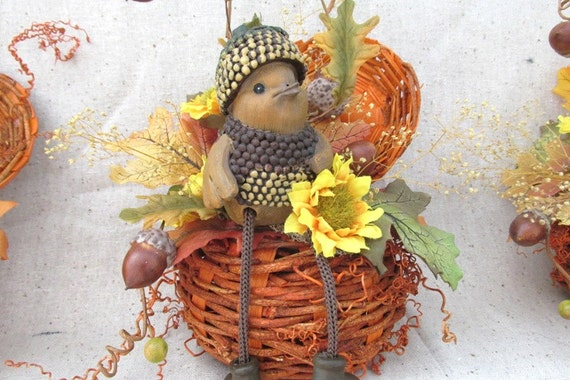 Fall Floral Bird Sitting In Rustic Pumpkin Acorns Fall Floral Autumn Floral Decor