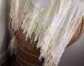 Harry and The Hippe Chic One Of A Kind Recycled Sweater Patchwork Lace Fringe Poncho Shawl