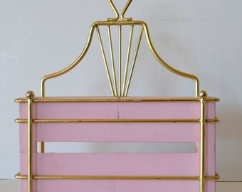 Vintage Metal Hanging or Free Standing Tissue Box Holder Vanity Decor