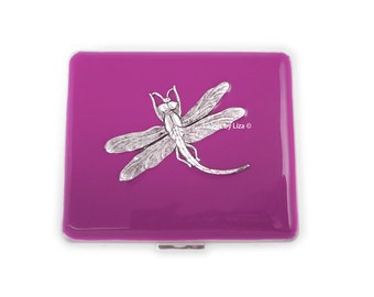 Dragonfly Daily Pill Box Hand Pianted Enamel Rose Color Opaque Inlaid Art Nouveau Inspired Custom Colors and Personalized Options