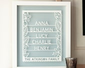 Personalized Family Tree Papercut Wall Art, gift for family, family tree art, names of family, personalised family gift, personalized family