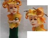 Woodland Horned Goddess OOAK Fairy Fairies Art Dolls NEW Figurine Sculpture Fall Polyme Clay Mixed Media