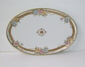 Antique Hand Painted Nippon Porcelain Dresser Tray, Morimura Bros, Japan, Trimmed In Gold, Oval Vanity Tray, Vanity Accessory