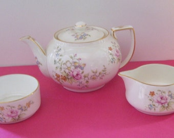 3 Piece Demitasse Oakley China Teapot, Creamer and Sugar Set, Made in England TeaPot, 2 Cup Teapot Set,  Child's Teapot Seat