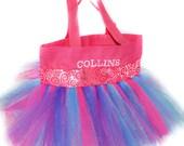 Kids Tutu Bag, Dance Bag, Hot Pink Whimsical Ribbon With FREE Monogram Name, Personalized Girl Dance Bag, Fairy Bag, Ballet Bag