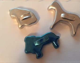 Set of Three Miniature Childrens Aluminum Cookie Cutters