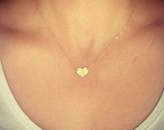 NEW - Gold Little Heart Necklace - Small Dainty Heart Charm Bridal Gift - Gift for Friend - Girlfriend - Mom - Sister - The Lovely Raindrop