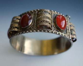 Carnelian Sterling Gold Wash Filigree Bracelet