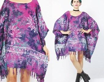 25% off SALE Tie Dye Kaftan Dress Hippie Boho Mini Dress Purple Beach Caftan Top SUNS Draped Dress Slouchy Wide Muu Muu Summer Boho Ethnic F