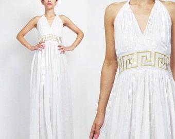25% off SALE Grecian Goddess Dress Greek Key Gold Embroidered Dress Vintage White Gauze Cotton Dress Halter Maxi Dress Summer Backless Sun D