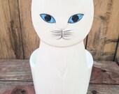 Ron Gordon Designs cat pot, vintage ceramic white cat with blue eyes pot planter, retro cat pottery bowl, Made in Japan cat figurine holder