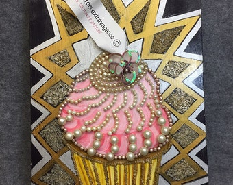 Fortune cupcake, mixed media, recycled jewelry,
